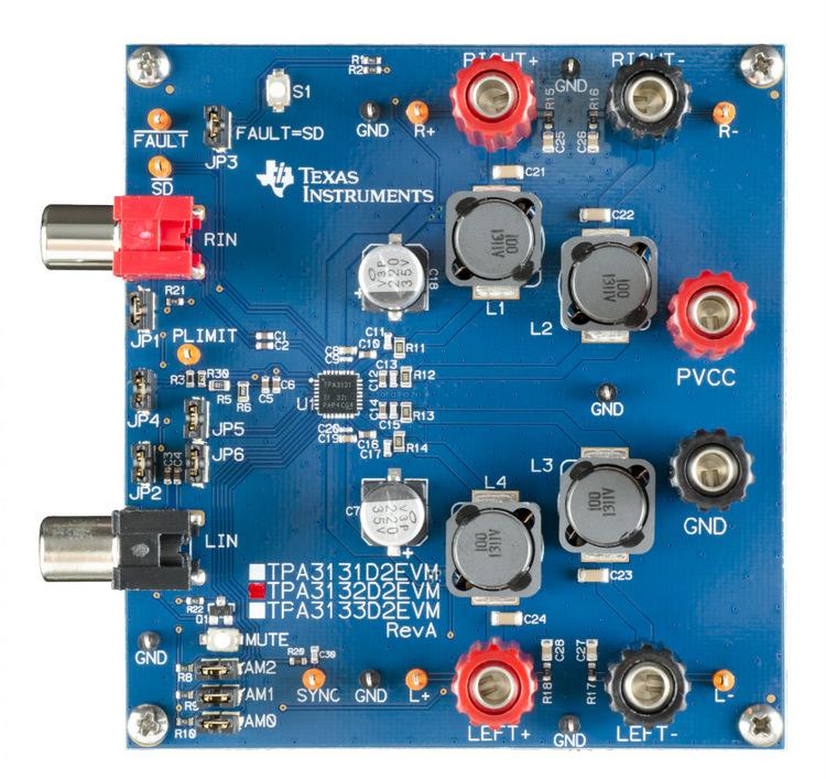 TPA3132D2EVM-TPA3132D2EVM for 25W Class D Speaker Amplifier IC - TI store image