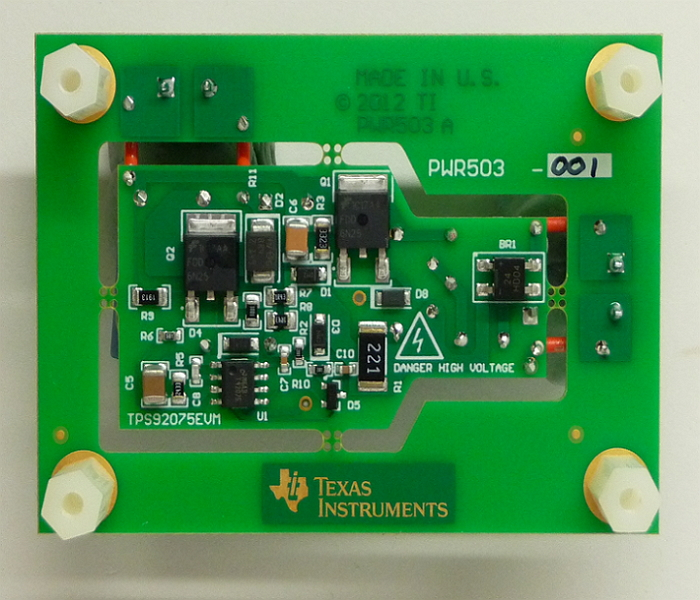 TPS92075EVM : TPS92075EVM-Non-Isolated, Phase Dimmable, Buck-Boost PFC LED Driver with Digital Reference Control Evaluation Module - TI store image