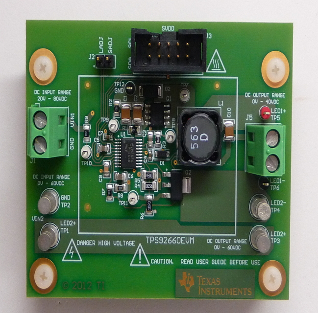 TPS92660EVM-Two String LED Driver with I2C/EPROM Current Trim Evaluation Module Board - TI store image
