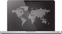 Laptop showing world map