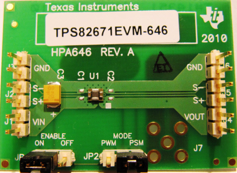 The TPS82671EVM-646 is a fully assembled and tested platform for evaluating  the performance of the TPS82671 high-frequency, synchronous, step-down  dc-dc ...